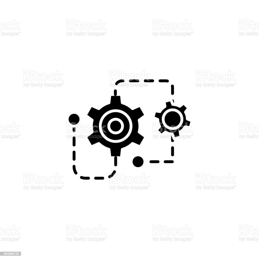 Project restructuring black icon concept. Project restructuring flat  vector symbol, sign, illustration. royalty-free project restructuring black icon concept project restructuring flat vector symbol sign illustration stock vector art & more images of no people