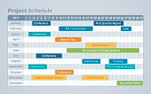 Project schedule and timeline process infographic with space for your content or copy.