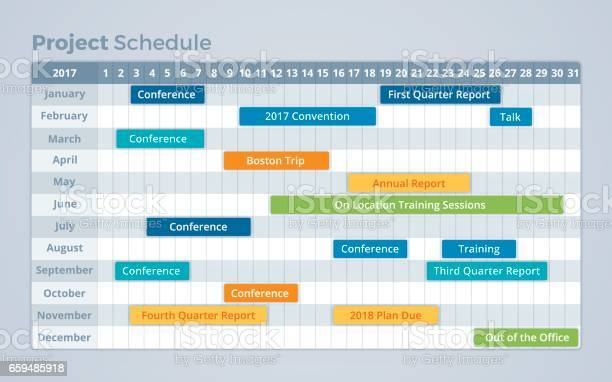 Project Schedule Calendar Timeline Stock Illustration - Download Image Now