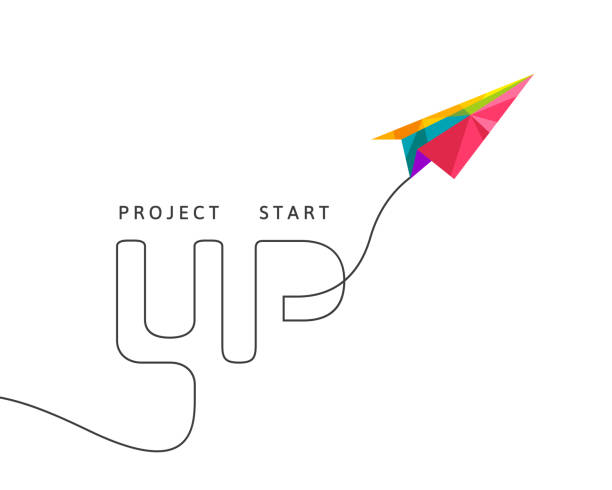 Project start up concept with multicolor paper plane Project start up concept with multicolor paper plane made in polygon design on white background paper airplane stock illustrations