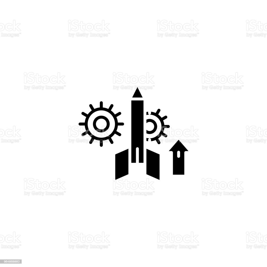 Project startup black icon concept. Project startup flat  vector symbol, sign, illustration. royalty-free project startup black icon concept project startup flat vector symbol sign illustration stock vector art & more images of no people