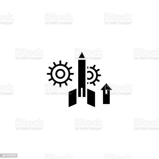 專案啟動黑色圖示概念專案啟動平面向量符號 符號 插圖向量圖形及更多一組物體圖片