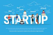 Project startup concept illustration of business people working together as