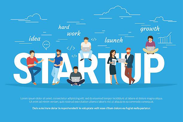 ilustrações, clipart, desenhos animados e ícones de ilustração do conceito de startup de projetos de pessoas de negócios trabalhando juntas como - startup