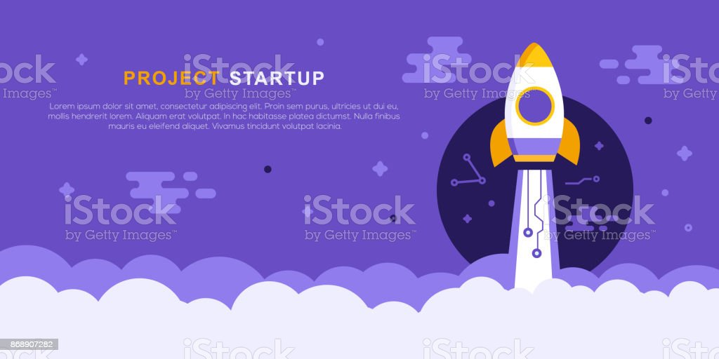 Project Startup Concept With Rocket ship vector art illustration