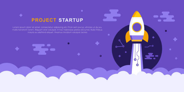 project startup concept with rocket ship - copy space stock illustrations