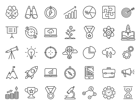Project startup. Startup thin line icons set. Business report, strategy, goal. Vector illustration of icons