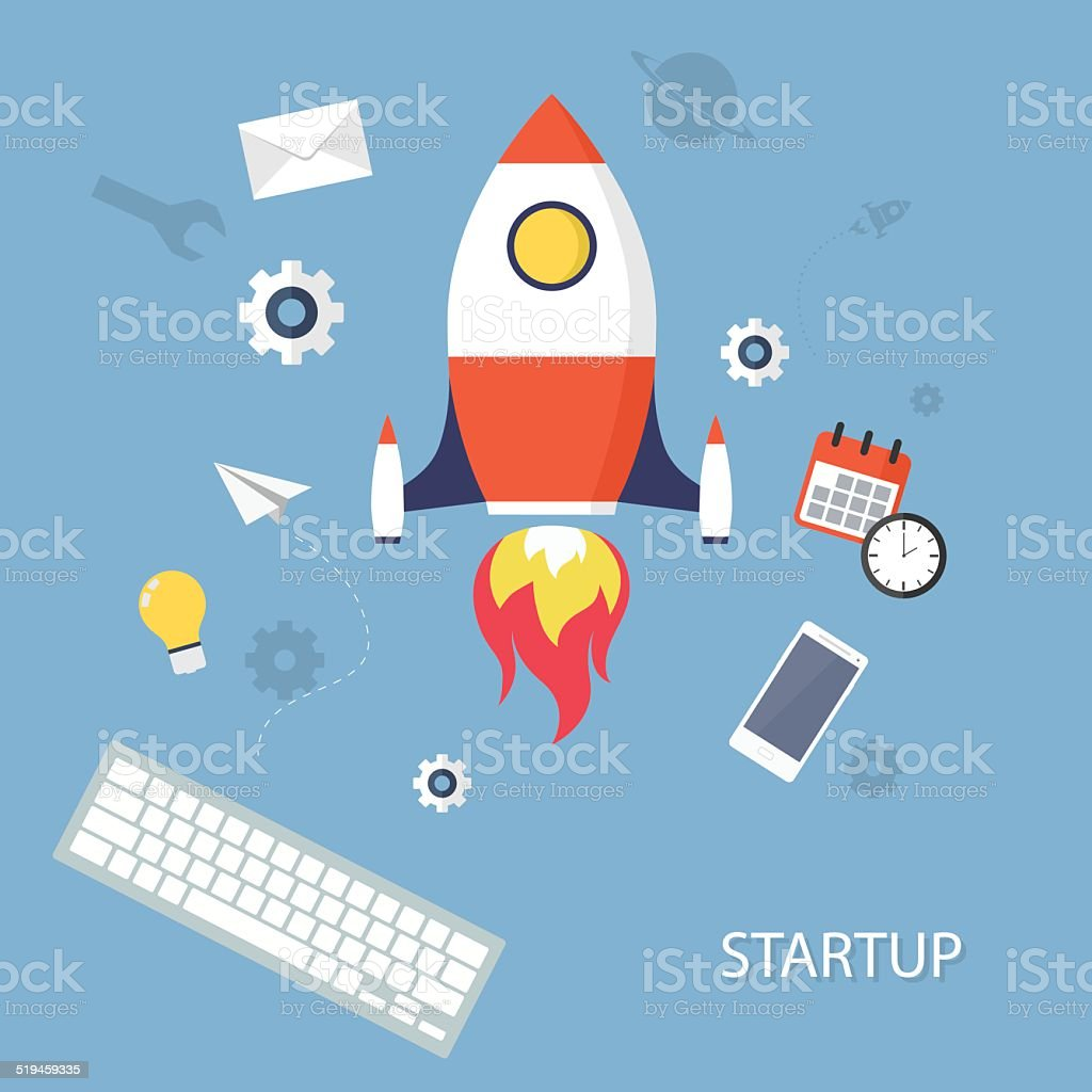 Project StartUp vector art illustration