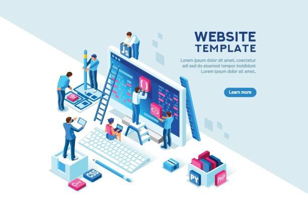 projekt-team-office-web-vorlage - arbeitsvermittlung stock-grafiken, -clipart, -cartoons und -symbole