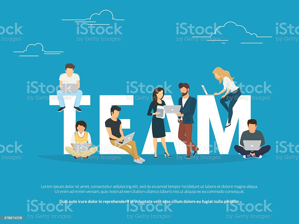 Project teamwork concept illustration of business people working together as vector art illustration