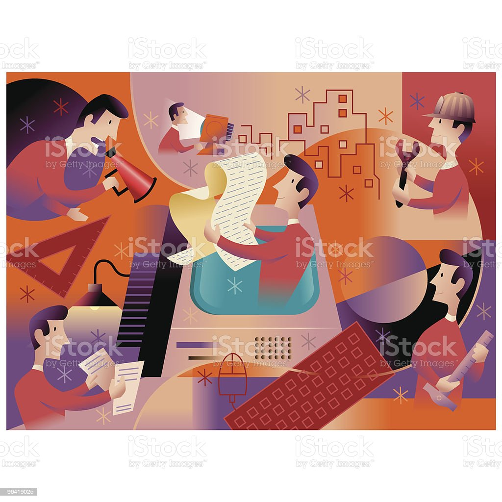 Project Workers Building vector art illustration
