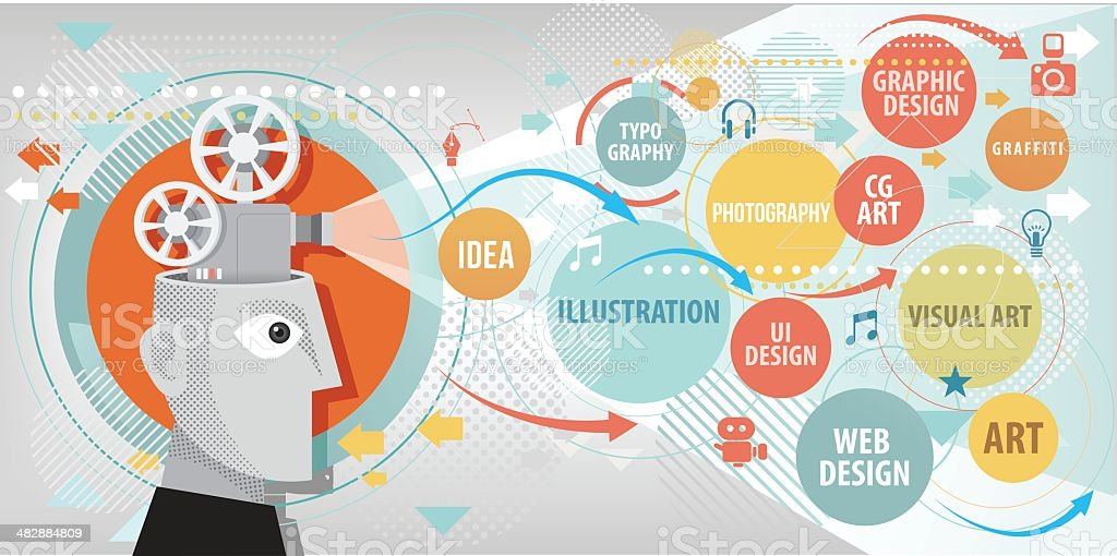 Projecting creative terms vector art illustration