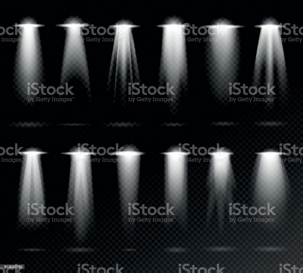 Projection lights sources vector art illustration