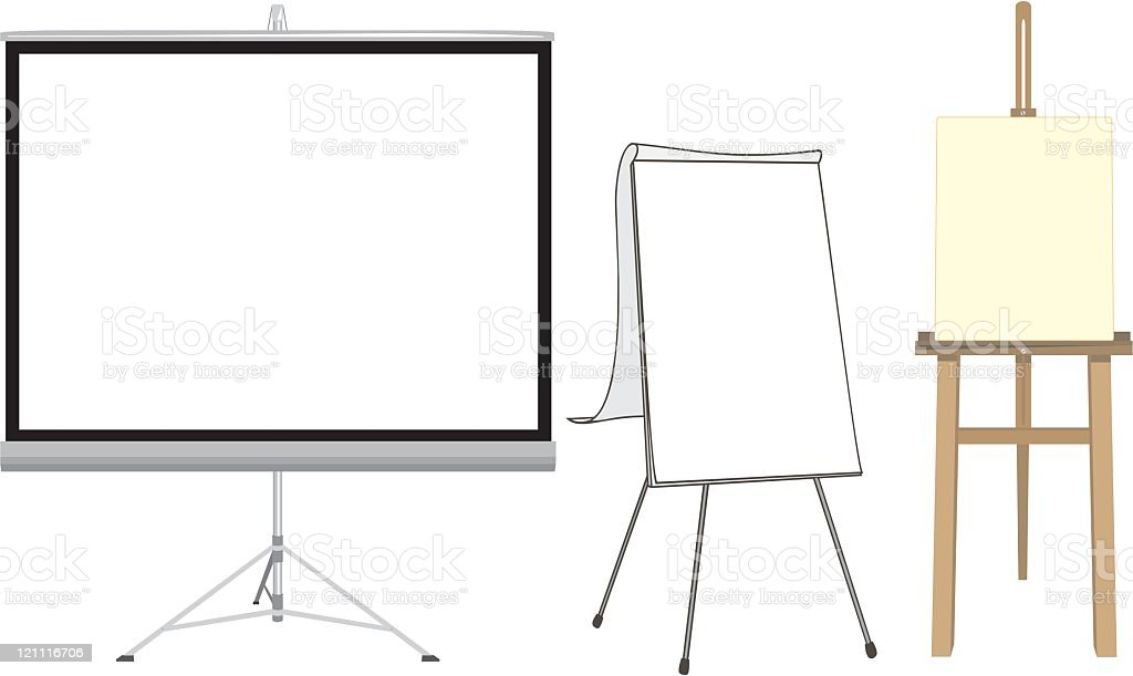 Projection Screen, Flip Chart and Easel vector art illustration