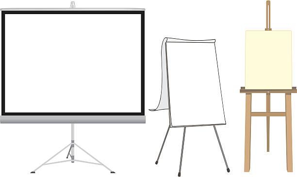 projektionsleinwand, flipcharts und easel - flipchart stock-grafiken, -clipart, -cartoons und -symbole