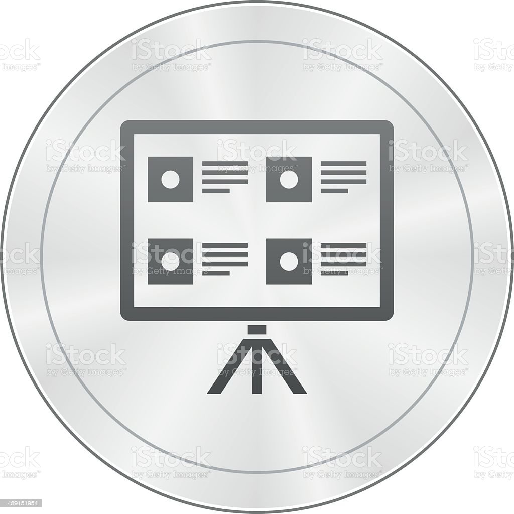 Projection Screen icon on a round button. royalty-free projection screen icon on a round button stock vector art & more images of 2015