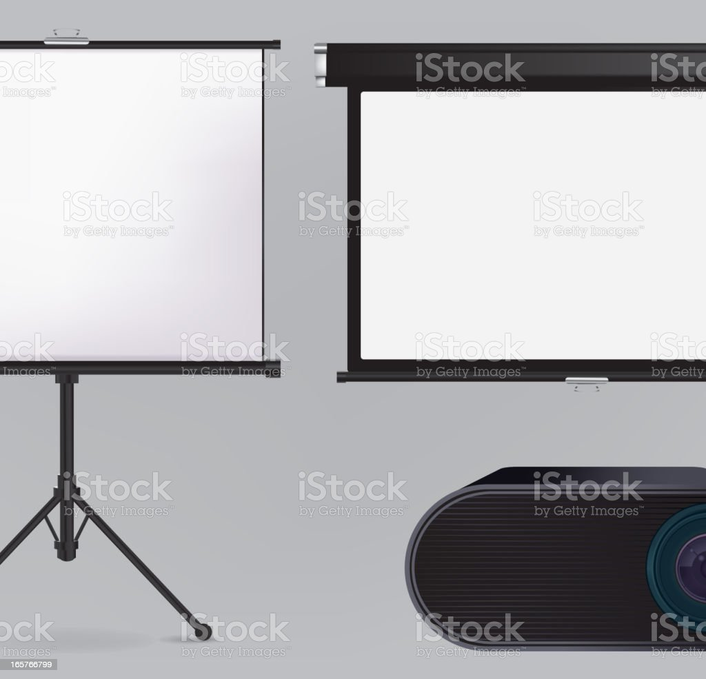 Projector and Projection screen vector art illustration
