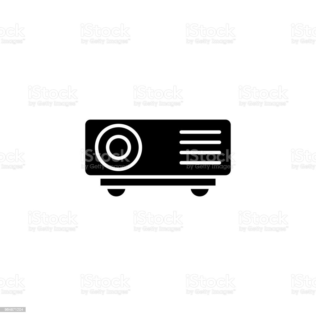 Projector black icon concept. Projector flat  vector symbol, sign, illustration. royalty-free projector black icon concept projector flat vector symbol sign illustration stock vector art & more images of no people