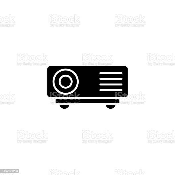 投影機黑色圖示的概念投影機平面向量符號 符號 插圖向量圖形及更多一組物體圖片