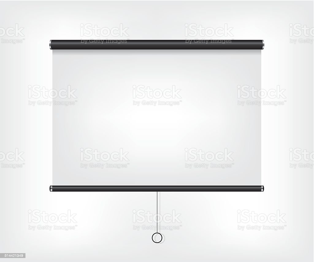 Projector blank screen vector art illustration