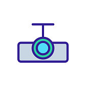 Projector icon vector. Thin line sign. Isolated contour symbol illustration