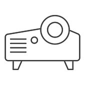 Projector thin line icon. Projection device, video and presentation item symbol, outline style pictogram on white background. Multimedia sign for mobile concept and web design. Vector graphics