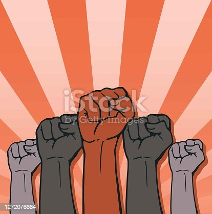 istock Proletarian Protest Symbol Clenched Fist Hand Vector 1272076684