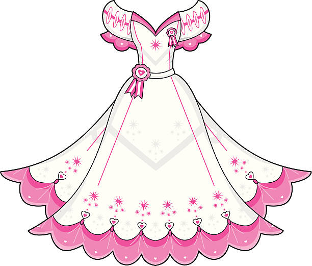 prom ball gown - prom fashion stock illustrations, clip art, cartoons, & icons