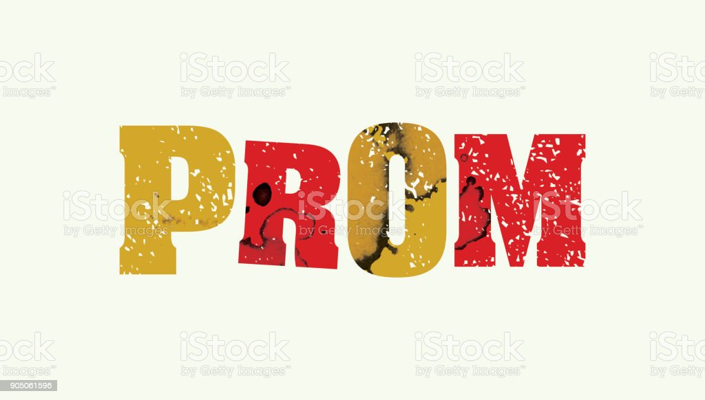 Prom Concept Colorful Stamped Word Illustration vector art illustration