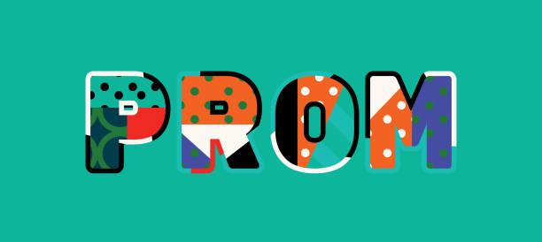 Abschlussball Konzeptkunst Wort Illustration – Vektorgrafik