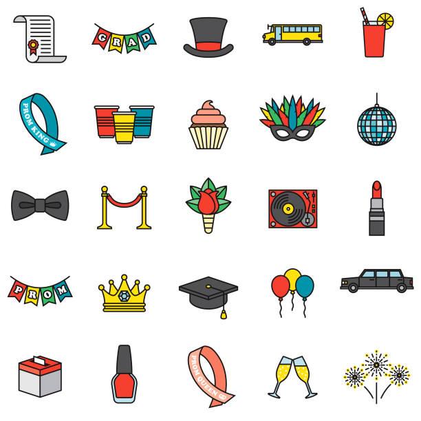 Abschlussball-Icon-Set – Vektorgrafik