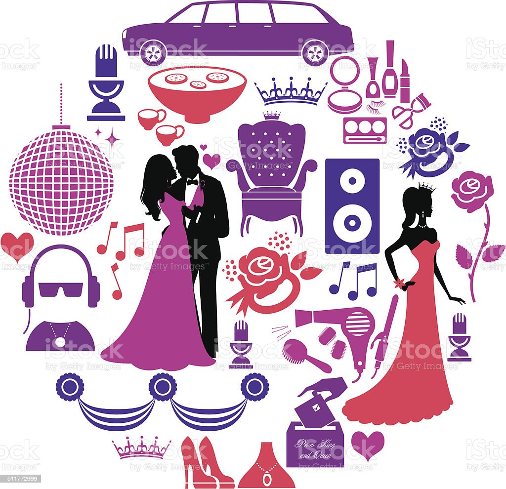 Prom Icon Set vector art illustration