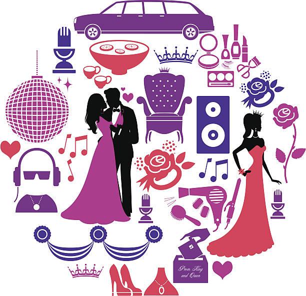 ilustrações, clipart, desenhos animados e ícones de prom conjunto de ícones - baile de graduação