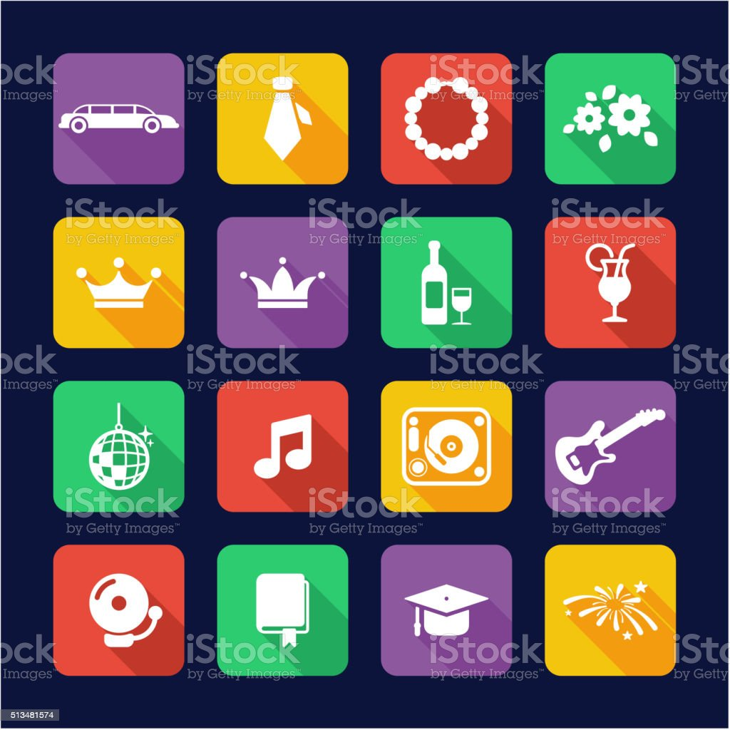 Prom Icons Flat Design vector art illustration