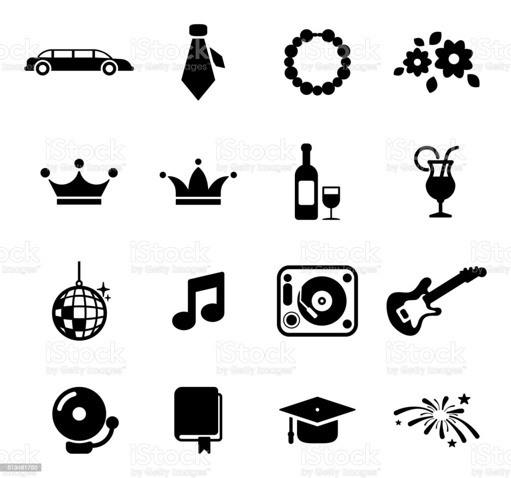 Prom Icons vector art illustration