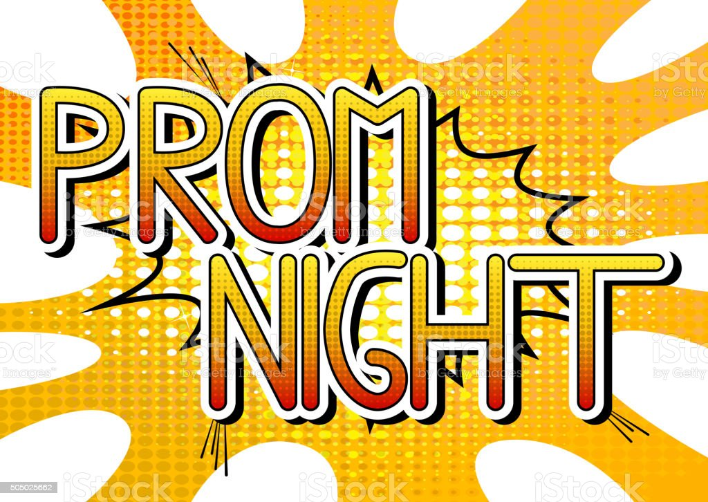 Prom Night - Comic book style word. vector art illustration