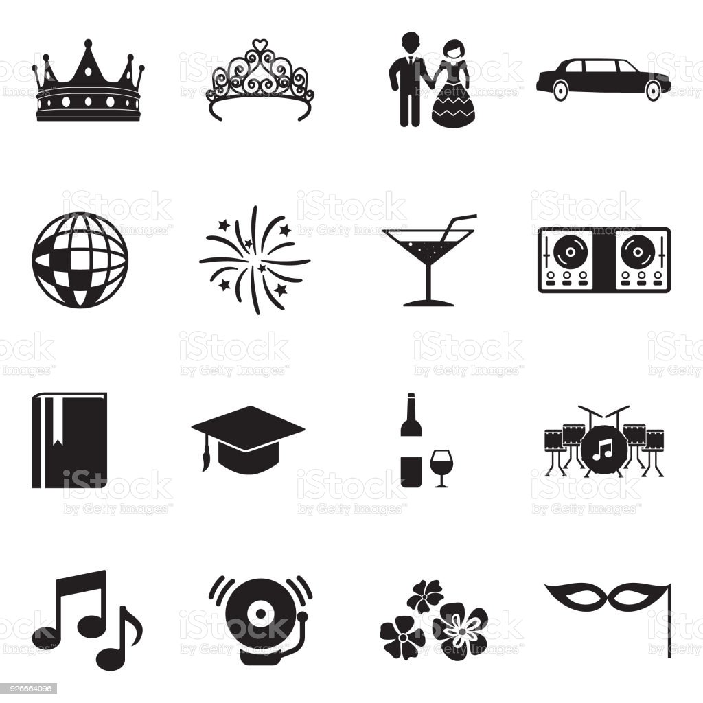 Prom Night Icons. Black Flat Design. Vector Illustration. vector art illustration