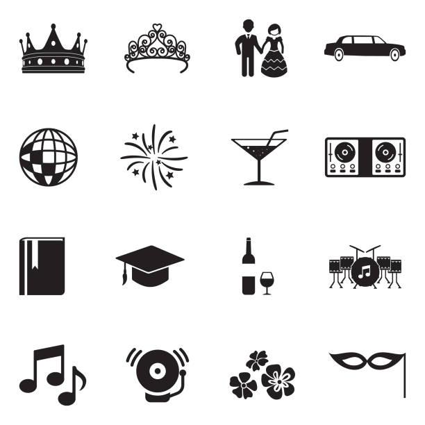 ilustrações, clipart, desenhos animados e ícones de ícones da noite do baile. projeto liso preto. ilustração em vetor. - baile de graduação