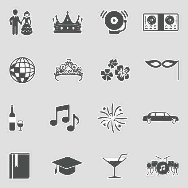 illustrazioni stock, clip art, cartoni animati e icone di tendenza di prom night icons. sticker design. vector illustration. - compagni scuola