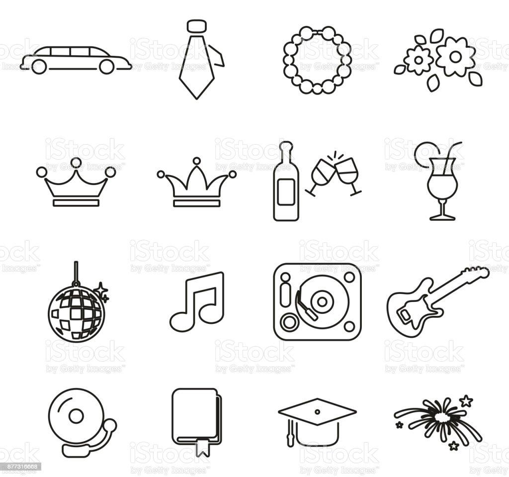 Prom Night Symbole dünne Linie Vektor-Illustration-Set – Vektorgrafik