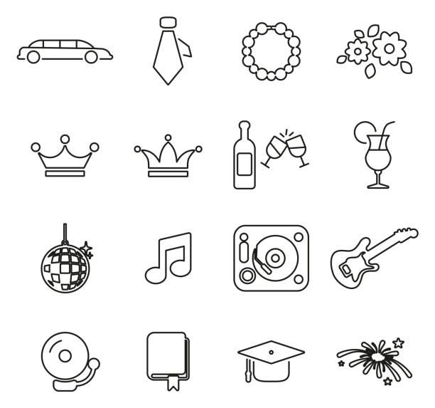 illustrazioni stock, clip art, cartoni animati e icone di tendenza di prom night icons thin line vector illustration set - compagni scuola