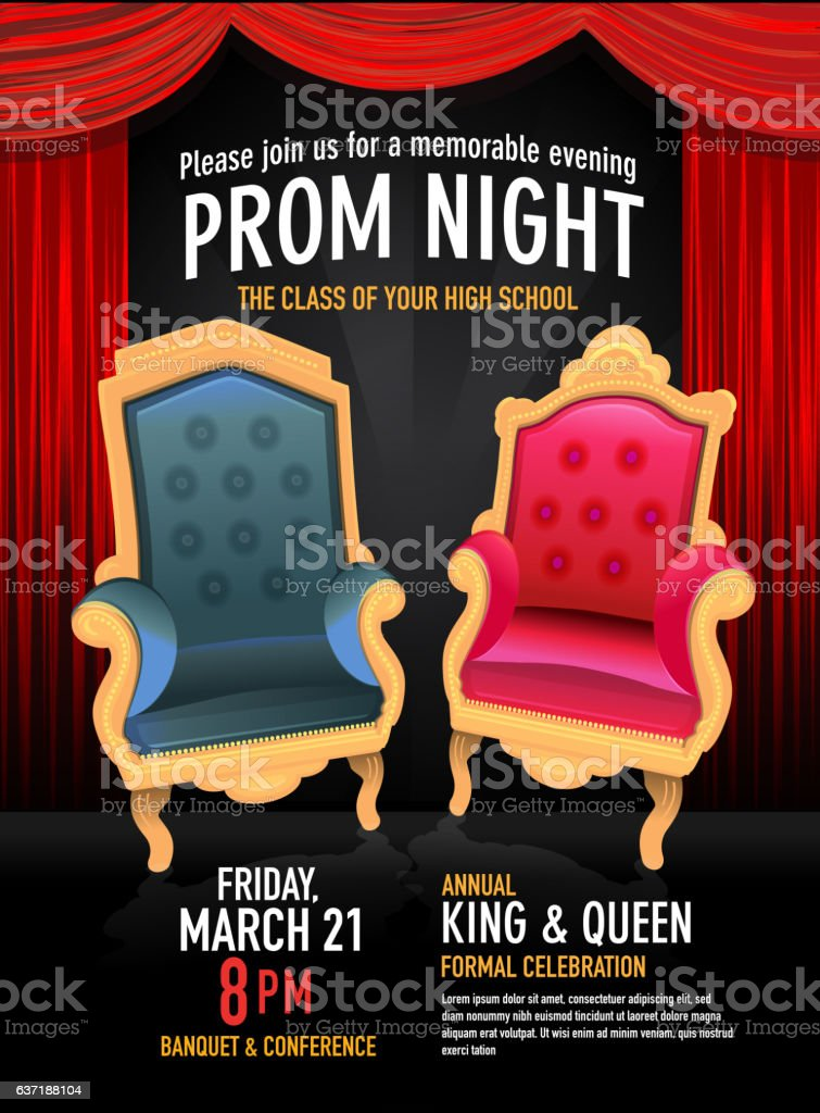Prom Night King and Queen design template with red curtain - ilustración de arte vectorial