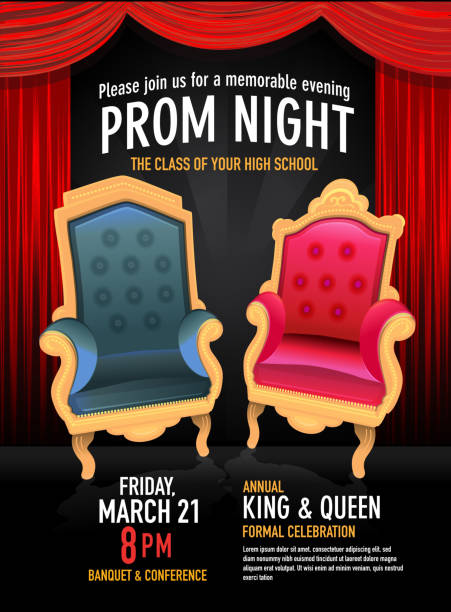 prom night king and queen design template with red curtain - 高校卒業ダンスパーティ点のイラスト素材/クリップアート素材/マンガ素材/アイコン素材