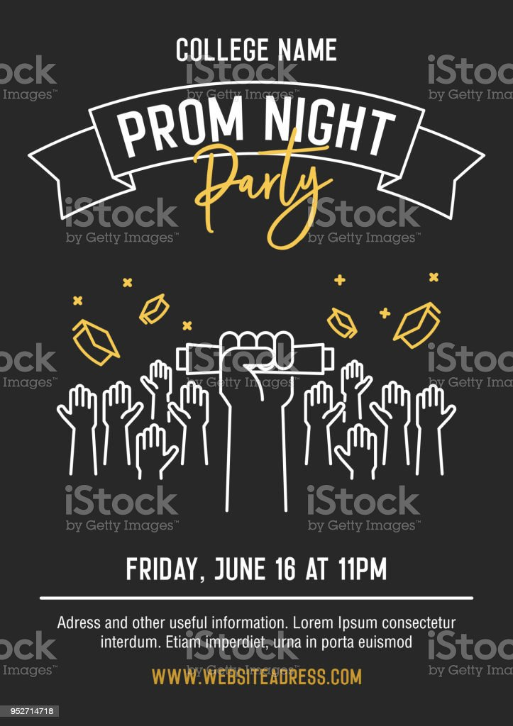 Prom Night party invitation card with hands raised throwing academic hats up and showing diplomas. Vector template design with thin line icons for highschool, college or university student event vector art illustration