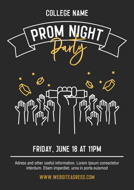 prom night party invitation card with hands raised throwing academic hats up and showing diplomas. vector template design with thin line icons for highschool, college or university student event - high school stock illustrations, clip art, cartoons, & icons