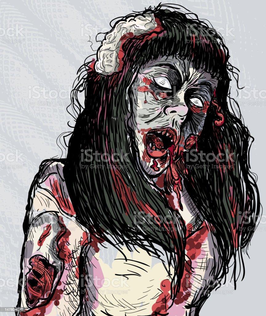 Prom Queen Zombie girl royalty-free stock vector art