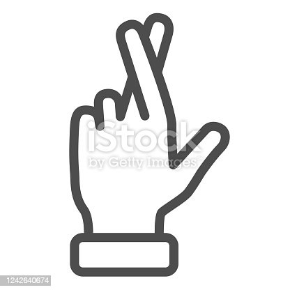 istock Promise gesture line icon, gestures concept, Hand with crossed fingers sign on white background, Gesture good luck or fortune icon in outline style for mobile, web design. Vector graphics. 1242640674