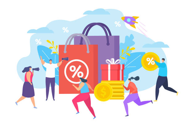 Promo at store sale goods, vector illustration. Market commerce advertising, man and woman with loudspeaker talk about sale. vector art illustration
