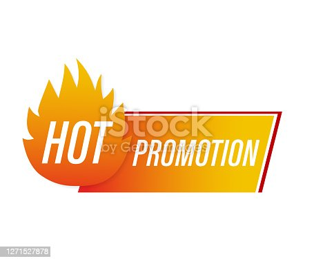 Promo banner, advertising background. Sale tag. Abstract banner with red hot promotion on white background for promo design