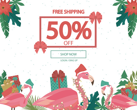 Promo Christmas, New Year banner, Sale poster and flyer with fun flamingo character. Editable vector illustration